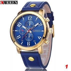 Relógio Curren 8192 Original Azul E Dourado + Caixa Brinde