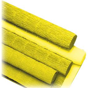 Papel Crepon Super Crepe 48cmx2,50m Liso Amarelo V.m.p. C/06