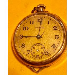 Hermoso Reloj Antiguo Waltham 1914 Baño De Oro 3 Cms