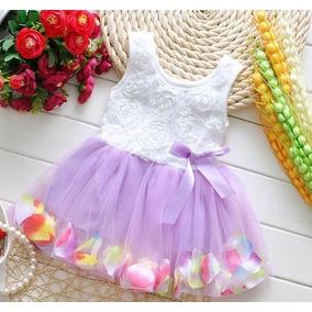 Vestido Tutu Para Niña Con Pétalos + Calcetitas De Regalo