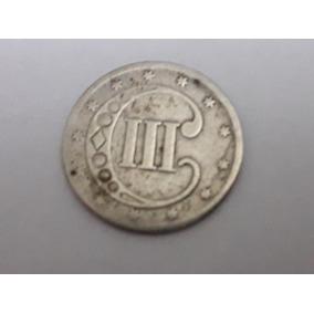 Moeda 3 Three Cent 1851, Prata, Rara.