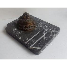 Antiguo Tintero Escribania Mármol Bronce Con Depósito Vidrio