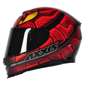 Capacete Axxis Snake Preto Vermelho Brilho Capacete Moto
