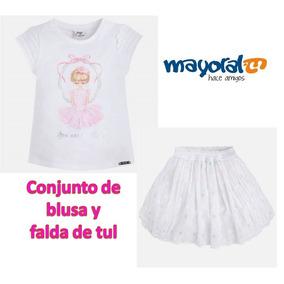 Conjunto Blusa Y Falda Mayoral Para Niña Talla 4 Y 6 Años