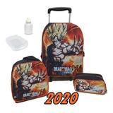 Kit Mochila Dragon Ball Z Infantil Escola Masculina Rodinhas