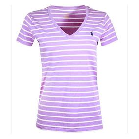 b0dbe4872e Camiseta Polo Ralph Lauren Gola V - Listrada Branco Roxo