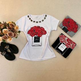 Kit 10 T-shirts Feminina - 5 Com Pedraria E 5 Sem Pedraria