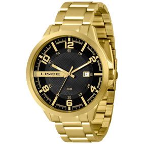 Relógio Lince Masculino Dourado Grande Mrg4271s Original Nfe