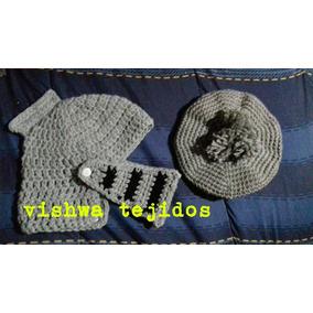 Conjunto Bebe Tejido Crochet. Gorro Medieval Mas Boina. 5147fa02906