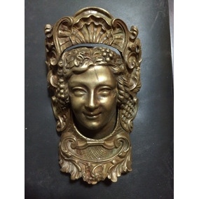 Maravilhosa Máscara Bronze Antiga Rosto De Mulher Movimento