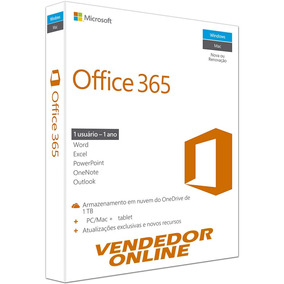 Office 365 + Onedrive 1tb Skype 60m Pc Ou Mac 1 Ano