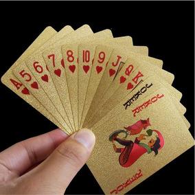 Baralho Dourado Ouro 24k Folheado Poker Truco Cartas Jogos 67573ac69a1