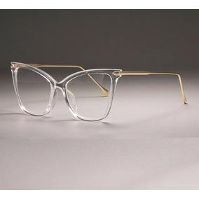 474556294f917 Armação De Óculos Feminina Com Haste Dourada- Estilo Gatinho