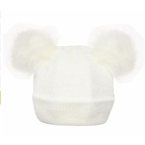 Touca Bebê Orelhinhas Pompom Gorro Crochet Frio Criança A1 · 2 cores f0726641470