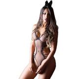 Lingerie Fantasia Sensual Sexy Mulher Coelha Sapeca