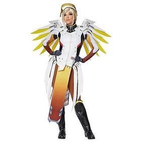 Disfraz Mujer Mercy Traje Super Lujo Overwatch Halloween