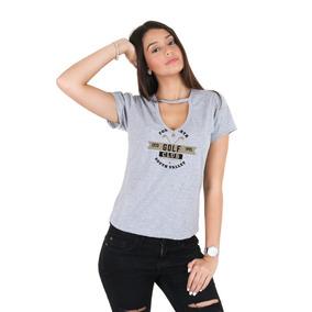 Blusa Feminina Gola Choker Golf Club Moda Blogueira Cinza 1f6dee34870