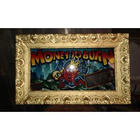 Cartel Enmarcado Vintage De Tragamonedas Decoración Vidrio