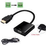 Adaptador Convertidor Hdmi A Vga + Cable De Audio 3.5mm