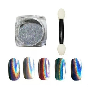 Pó Cromado Metalizado Holográfico Prateado Manicure Promoção