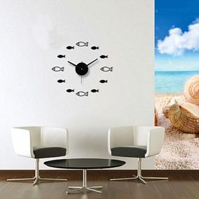 Reloj De Pared Peces Pescados Marino Sticker Analógico