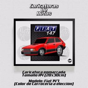 Caricatura De Auto Enmarcada 30x20cm Fiat 147