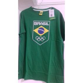 Camisa Olimpiadas Rio 2016 Time Brasil Logo Bandeira Tam M