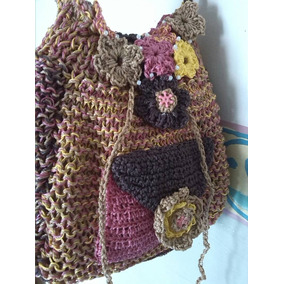 Bolso Tejido Con Aguja Crochet Artesanal 37b0e56ee70