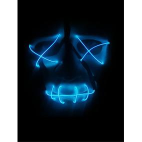 Máscara The Purge Sem Face Halloween Rave Com Led - Azul