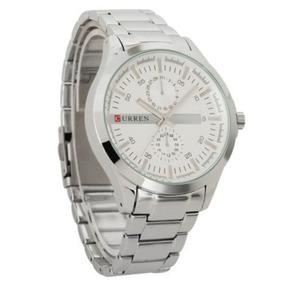 Relógio Clássico Social Masculino Aço Inoxidável Prata 8128