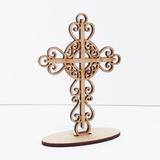 100 Lembrancinha Cristã Cruz Arabesco 1 Mdf Cru 10cm