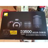Camara Reflex Nikon D3500 Kit 2 Lentes Y Maletin Nueva