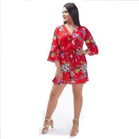 Mono 19520 Jumpsuit Palaxo Short Rojo Playa Tallas Extras 49a788c537bb