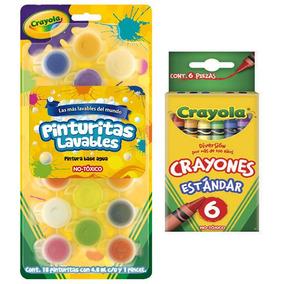 Kit Pack 18 Pinturas Lavables +6 Crayones Estandar Crayola