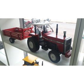 Miniatura Artesanal Trator Massey Ferguson Com Carreta