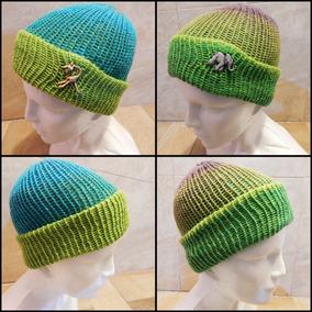 Gorro Doble Vista Tejido Verde Azul Crochet Unisex Zoo Jiraf