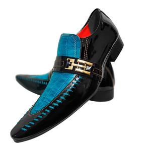 Sapato Masculino Em Couro Preto Com Tricê Azul Aço Cod. 695