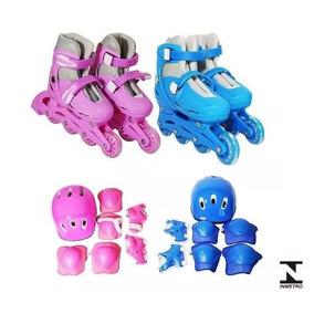 Patins 4 Rodas In Line Infantil Ajustável C/ Kit Proteção