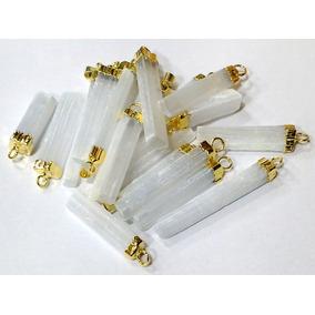 Pingente Selenita Gipsita 4cm Pedra P Proteção Folheado Ouro