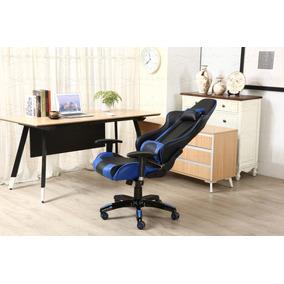 Cadeira Gamer Encosto Reclinável Preto + Azul - Lms-by-8-141