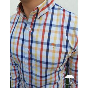 Camisa Slim Fit Blanca Mini Cuadros De Colores
