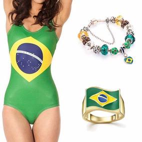 Kit Maiô Pulseira Anel Banhado Ouro Bandeira Brasil + Brinde