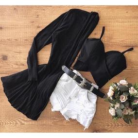 Conjunto Cardigan + Cropped + Cinto + Short Jeans Promoção