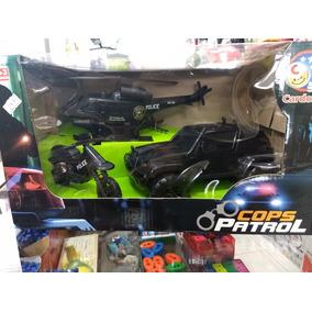 Super Kit Cops Patrol - Carro, Moto E Helicóptero Policial