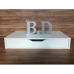 Criado Mudo Escrivaninha Suspensa 60x17x30cm Mdf Branco