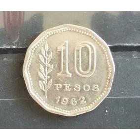 M 0010 Moeda Antiga Argentina 10 Pesos 1962