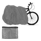 Capa Para Cobrir Bicicleta Cinza Com Forro Tamanho Universal