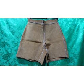 Shorts Feminino De Couro Camurça Vintage Cintura Alta 33cm