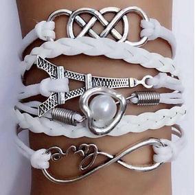 Pulseira/bracelete Couro-branco-torre Eiffel-feminina-027