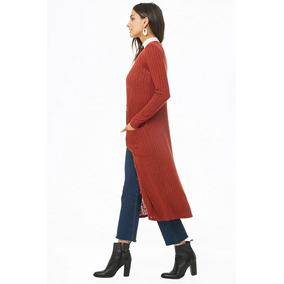 Forever 21 Cardigan Largo Kimono Terracota Botones Frente M